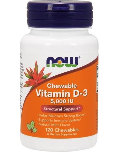 NOW FOODS Vitamin D3, 5000 IU - 120 chewables