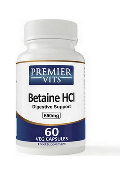 Premier Vits - Betaine HCL, 650mg x 60 Vegetarian Capsules