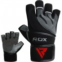 GYM GLOVE LEATHER GRAY/BLACK