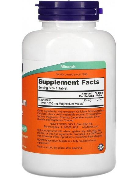 Now Foods, Magnesium Malate (Magneesium malaat), 1000 mg, 180 tabletti