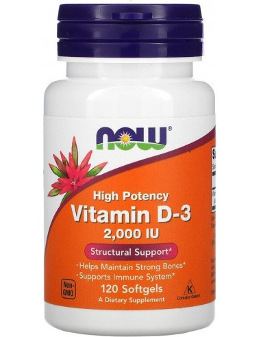 Now Foods, Vitamin D3, 2,000 IU, 120...